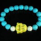 Turquoise Yellow Smile Buddha Bead Blue White Veins Ball Beads Stretch Bracelet ZZ2306