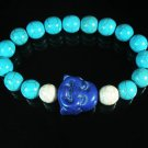 Turquoise Purple-blue Smile Buddha Bead Blue White Veins Ball Beads Stretch Bracelet ZZ2307