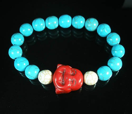 Turquoise Red Smile Buddha Bead Blue White Veins Ball Beads Stretch Bracelet ZZ2308