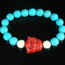 Turquoise Red Smile Buddha Bead Blue White Veins Ball Beads Stretch Bracelet ZZ2308