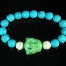 Turquoise Green Smile Buddha Bead Blue White Veins Ball Beads Stretch Bracelet ZZ2310