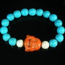 Turquoise Orange Smile Buddha Bead Blue White Veins Ball Beads Stretch Bracelet ZZ2311