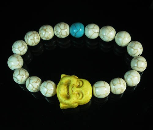 Turquoise Yellow Smile Buddha Bead Blue White Veins Ball Beads Stretch Bracelet ZZ2315