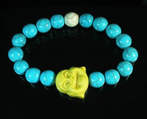 Turquoise Yellow Smile Buddha Bead Blue White Veins Ball Beads Stretch Bracelet ZZ2323