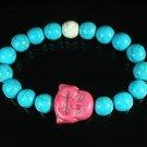 Turquoise Pink Smile Buddha Bead Blue White Veins Ball Beads Stretch Bracelet ZZ2324