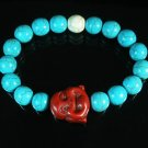 Turquoise Red Smile Buddha Bead Blue White Veins Ball Beads Stretch Bracelet ZZ2327
