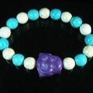 Turquoise Purple Smile Buddha Bead Blue White Veins Ball Beads Stretch Bracelet ZZ2333