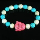 Turquoise Pink Smile Buddha Bead Blue White Veins Ball Beads Stretch Bracelet ZZ2335