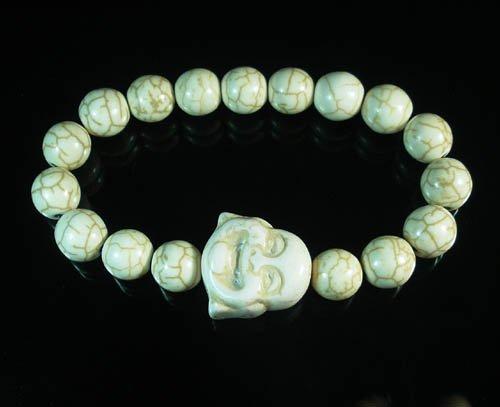 Turquoise White Smile Buddha Bead White Veins Ball Beads Stretch Bracelet ZZ2339