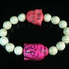 Turquoise Pink Buddha Bead White Veins Ball Beads Stretch Bracelet ZZ2348