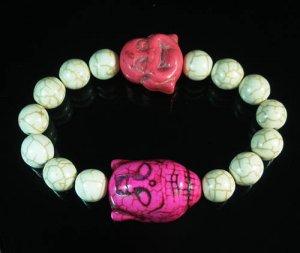Turquoise Pink Buddha Bead White Veins Ball Beads Stretch Bracelet ZZ2348