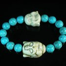 Turquoise White Buddha Bead Blue Veins Ball Beads Stretch Bracelet ZZ2352