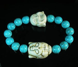 Turquoise White Buddha Bead Blue Veins Ball Beads Stretch Bracelet ZZ2352