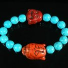 Turquoise Red Buddha Bead Blue Veins Ball Beads Stretch Bracelet ZZ2353