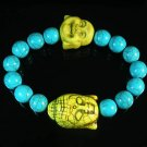 Turquoise Yellow Buddha Bead Blue Veins Ball Beads Stretch Bracelet ZZ2354
