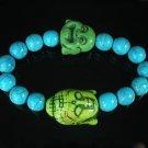 Turquoise Green Buddha Bead Blue Veins Ball Beads Stretch Bracelet ZZ2356