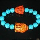 Turquoise Orange Buddha Bead Blue Veins Ball Beads Stretch Bracelet ZZ2357