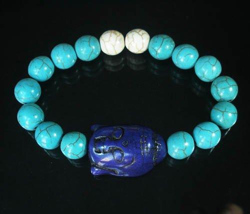 Turquoise Dark Blue Buddha Bead White Blue Veins Ball Beads Stretch Bracelet ZZ2359
