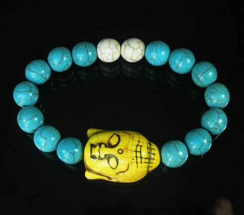 Turquoise Yellow Buddha Bead White Blue Veins Ball Beads Stretch Bracelet ZZ2364