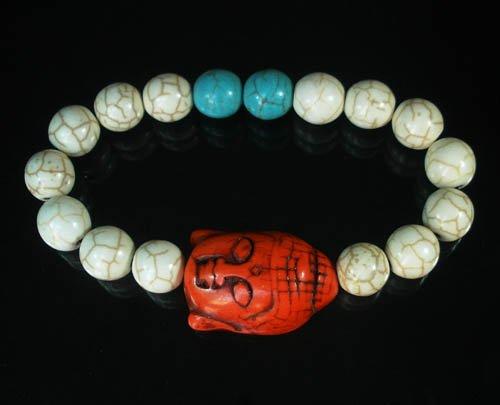Turquoise Red Buddha Bead White Blue Veins Ball Beads Stretch Bracelet ZZ2368