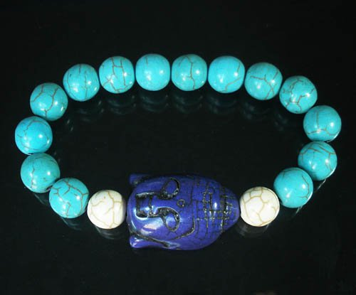 Turquoise Blue Buddha Bead White Blue Veins Ball Beads Stretch Bracelet ZZ2375