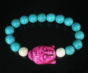 Turquoise Hot Pink Buddha Bead White Blue Veins Ball Beads Stretch Bracelet ZZ2376