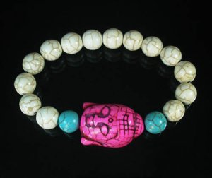 Turquoise Hot Pink Buddha Bead White Blue Veins Ball Beads Stretch Bracelet ZZ2381