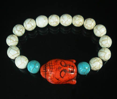 Turquoise Red Buddha Bead White Blue Veins Ball Beads Stretch Bracelet ZZ2386