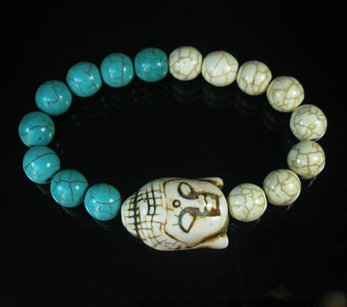Turquoise White Buddha Bead White Blue Veins Ball Beads Stretch Bracelet ZZ2392