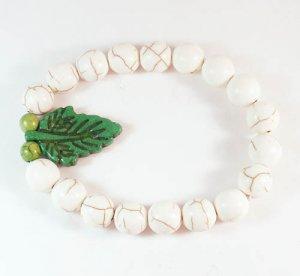 Turquoise Green Leaf White Veins Ball Beads Stretch Bracelet ZZ2404