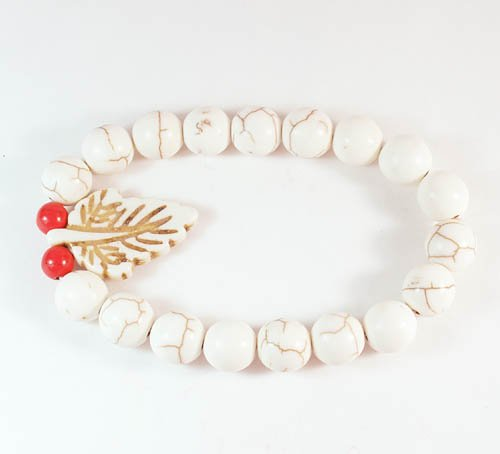 Turquoise White Leaf White Veins Ball Beads Stretch Bracelet ZZ2405