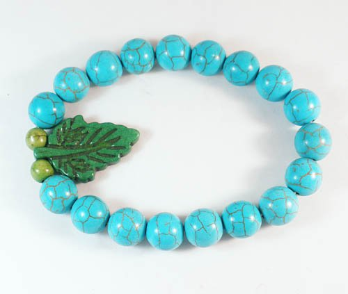 Turquoise Green Leaf Baby Blue Veins Ball Beads Stretch Bracelet ZZ2415
