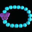 Turquoise Purple Butterfly Baby Blue Veins Ball Beads Stretch Bracelet ZZ2418