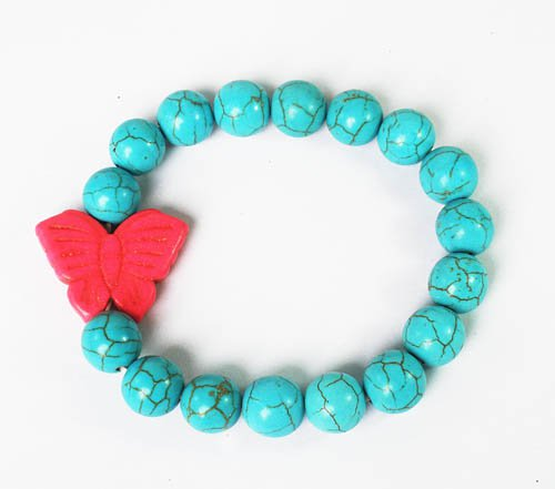 Turquoise Pink Butterfly Baby Blue Veins Ball Beads Stretch Bracelet ZZ2421