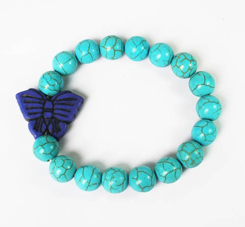 Turquoise Dark Blue Butterfly Baby Blue Veins Ball Beads Stretch Bracelet ZZ2425