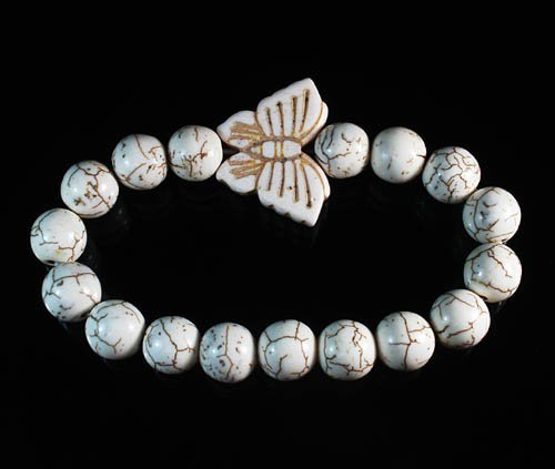 Turquoise White Butterfly White Veins Ball Beads Stretch Bracelet ZZ2427