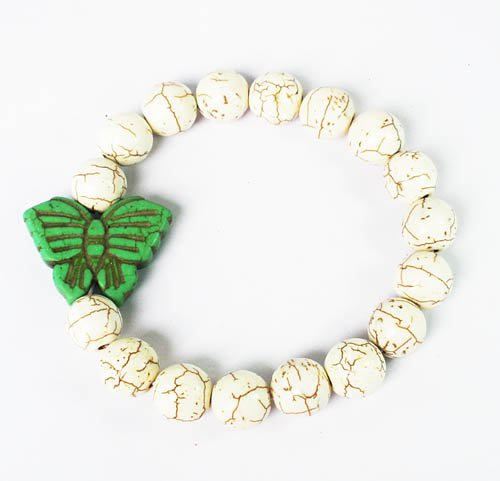 Turquoise Green Butterfly White Veins Ball Beads Stretch Bracelet ZZ2428