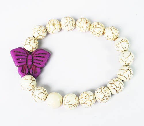 Turquoise Purple Butterfly White Veins Ball Beads Stretch Bracelet ZZ2431