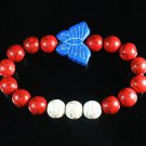 Turquoise Blue Butterfly Red White Veins Ball Beads Stretch Bracelet ZZ2435