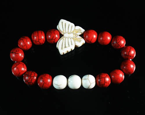 Turquoise White Butterfly Red White Veins Ball Beads Stretch Bracelet ZZ2440