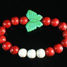 Turquoise Green Butterfly Red White Veins Ball Beads Stretch Bracelet ZZ2441