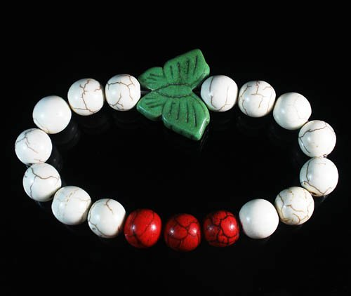 Turquoise Green Butterfly Red White Veins Ball Beads Stretch Bracelet ZZ2442