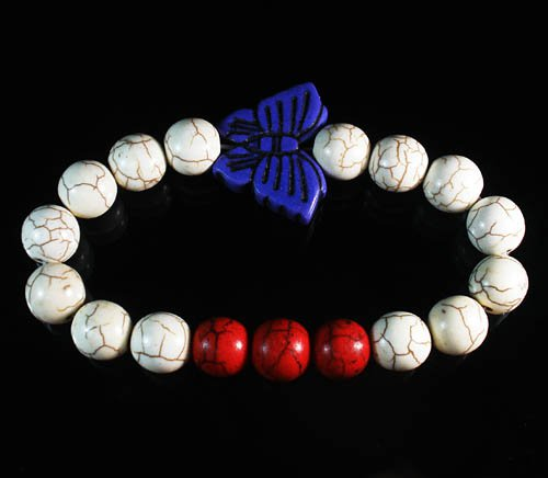 Turquoise Blue Butterfly Red White Veins Ball Beads Stretch Bracelet ZZ2443