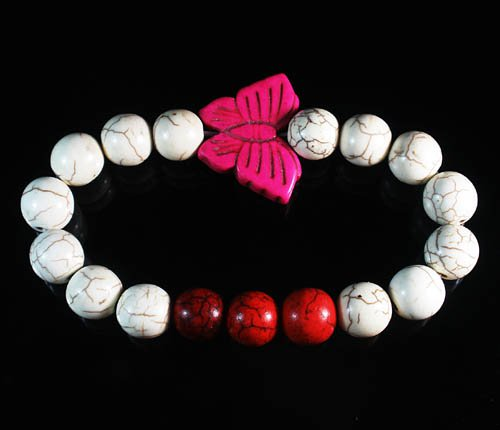 Turquoise Pink Butterfly Red White Veins Ball Beads Stretch Bracelet ZZ2444