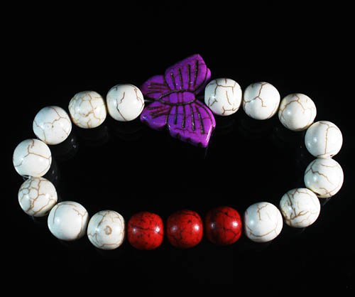 Turquoise Purple Butterfly Red White Veins Ball Beads Stretch Bracelet ZZ2447