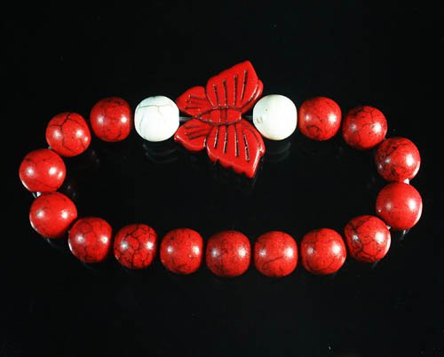 Turquoise Red Butterfly Red White Veins Ball Beads Stretch Bracelet ZZ2450