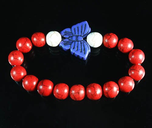 Turquoise Blue Butterfly Red White Veins Ball Beads Stretch Bracelet ZZ2454