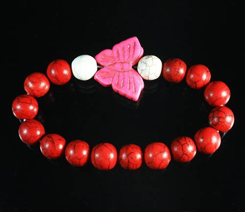 Turquoise Pink Butterfly Red White Veins Ball Beads Stretch Bracelet ZZ2455