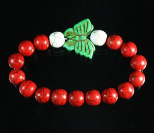 Turquoise Green Butterfly Red White Veins Ball Beads Stretch Bracelet ZZ2456
