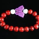Turquoise Purple Butterfly Red White Veins Ball Beads Stretch Bracelet ZZ2457
